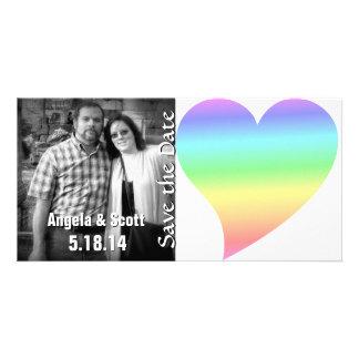 Bright Rainbow Retro Pastel Heart Customized Photo Card