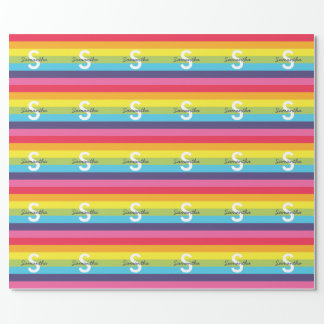 Bright Rainbow Stripe Initial Name Gift Wrap