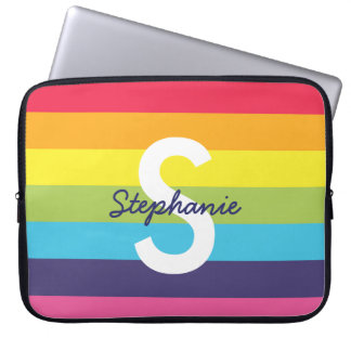 Bright Rainbow Stripe Initial Name Laptop Case Computer Sleeve