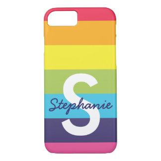 Bright Rainbow Stripe Initial Name Phone Case