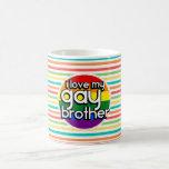 Bright Rainbow Stripes; Gay Brother Basic White Mug