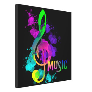 Bright Rainbow Treble Clef Music Paint Splatter Canvas Print