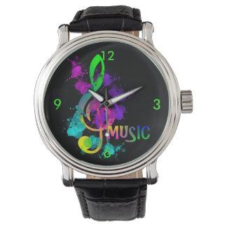 Bright Rainbow Treble Clef Music Paint Splatter Watch