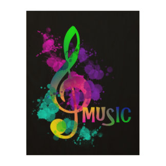 Bright Rainbow Treble Clef Music Paint Splatter Wood Print