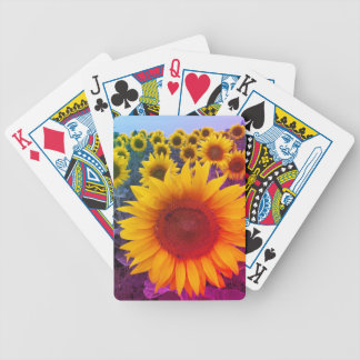 Bright Rainbow Yellow Gold Floral Sunflowers Bicycle Playing Cards