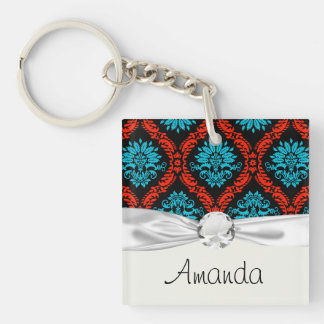 bright red and aqua blue black ornate damask Double-Sided square acrylic key ring