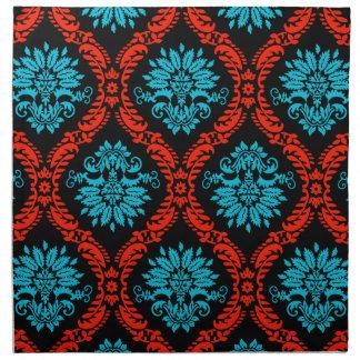 bright red and aqua blue black ornate damask napkin