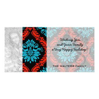 bright red and aqua blue black ornate damask photo card
