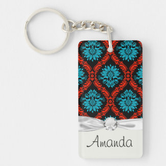bright red and aqua blue black ornate damask Single-Sided rectangular acrylic key ring