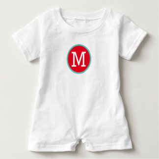 Bright Red and Light Teal Monogram Baby Bodysuit