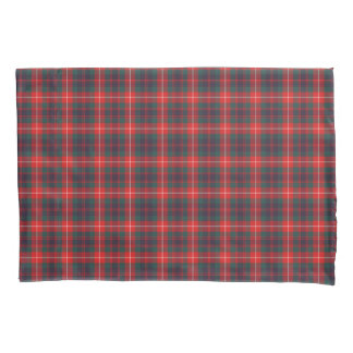 Bright Red and Navy Blue Fraser Modern Tartan Pillowcase