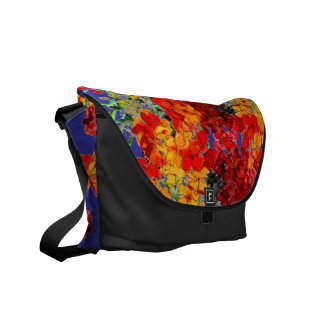 Bright Red and Orange Flowers Rickshaw Courier Bag