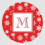 Bright Red and White Snowflakes Pattern 1 with Mon Round Stickers