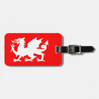 Bright Red and White Welsh Dragon Luggage Tag