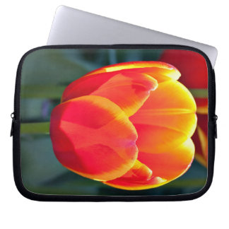 Bright red and yellow tulip bloom on green laptop computer sleeve