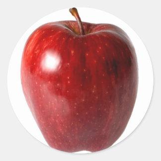 Bright Red Apple Round Sticker