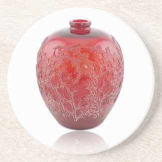 Bright red Art Deco glass vase with holly leaves. Coaster