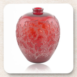 Bright red Art Deco glass vase with holly leaves. Drink Coaster