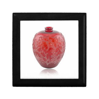 Bright red Art Deco glass vase with holly leaves. Gift Box