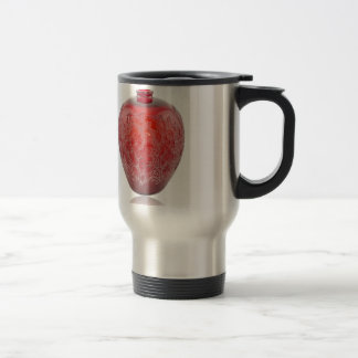 Bright red Art Deco glass vase with holly leaves. Travel Mug