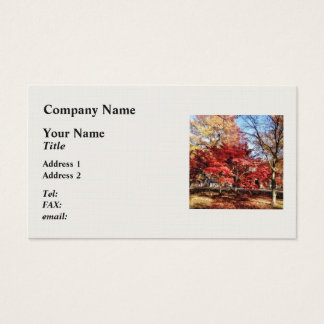 Bright Red Autumn Tree Business Card