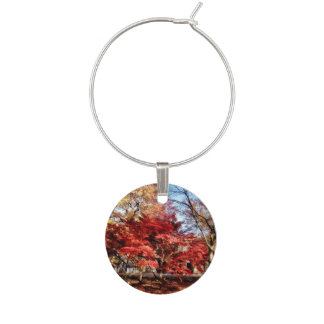 Bright Red Autumn Tree Wine Glass Charm