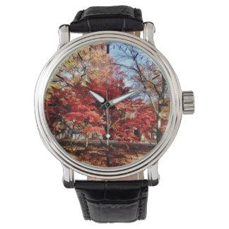 Bright Red Autumn Tree Wristwatch