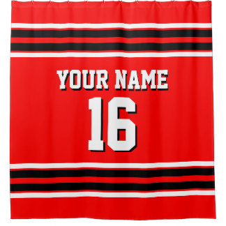 Bright Red Black White Stripes Sports Jersey Shower Curtain
