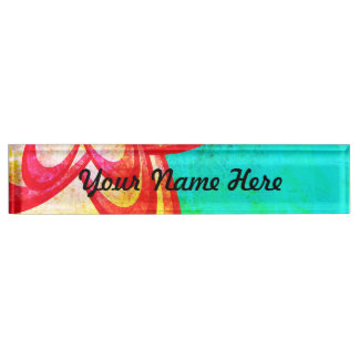 Bright Red/Blue Abstract Flower Design Nameplate
