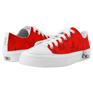 Bright Red Bubbles Pattern Low Top Canvas Shoes