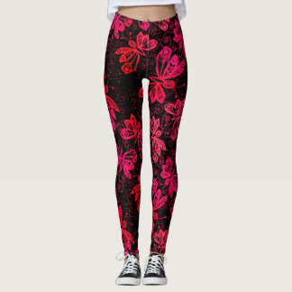 Bright Red Butterflies Leggings