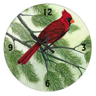 Bright Red Cardinal - Clock
