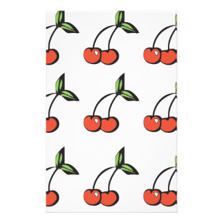 Bright Red Cherries w/ Green Leaves Pattern Customized Stationery