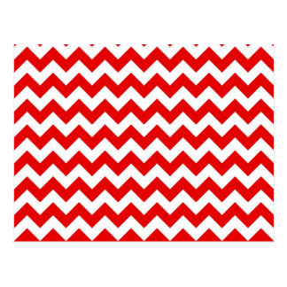 Bright Red Chevron Zig-Zag Pattern Postcards