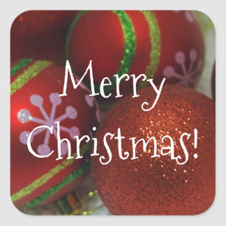 Bright Red Christmas Ornaments Square Sticker