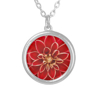 Bright Red Dahlia Silver Plated Necklace