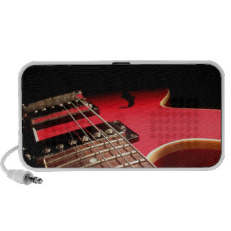 Bright Red Electric Guitar Photo Portable Speaker