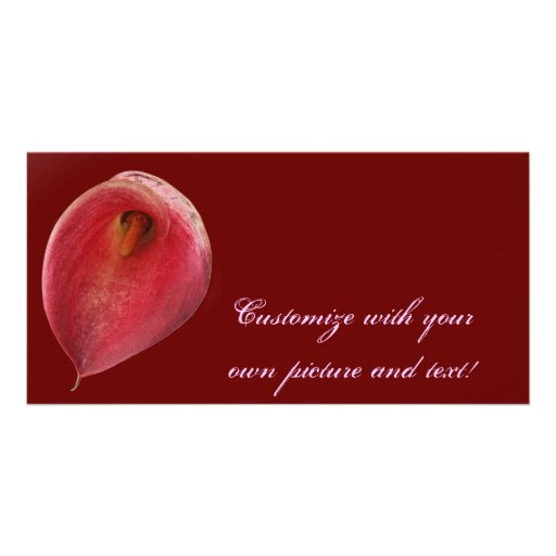 Bright Red 'Exotic Flamingo' Flower Personalized Photo Card