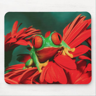 Bright Red-Eyed Frog Mouse Pad