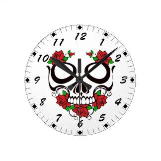 Bright Red Flowers Green Leaves Sugar Skull Round Clock