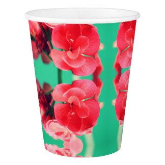 Bright Red Geranium Flowers Print Paper Cup