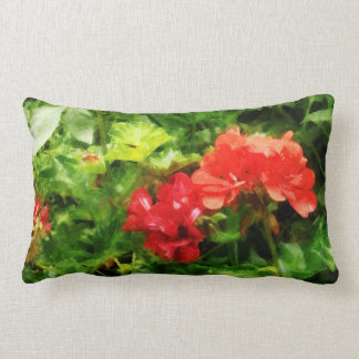 Bright Red Geraniums Lumbar Cushion