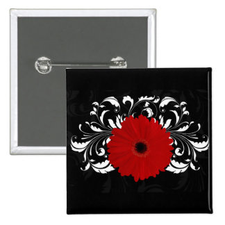 Bright Red Gerbera Daisy on Black 15 Cm Square Badge