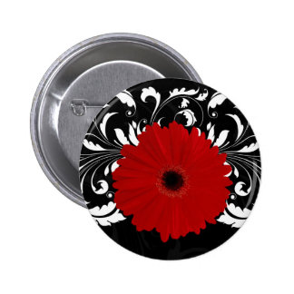 Bright Red Gerbera Daisy on Black 6 Cm Round Badge