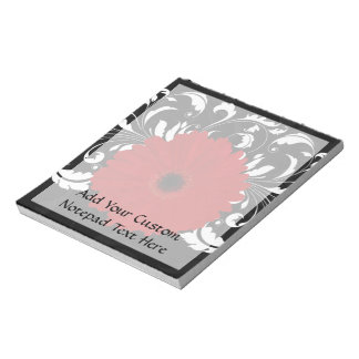 Bright Red Gerbera Daisy on Black Notepad