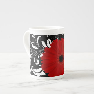 Bright Red Gerbera Daisy on Black Bone China Mug