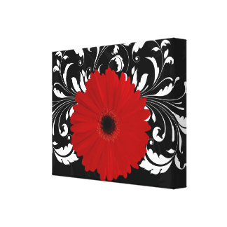 Bright Red Gerbera Daisy on Black Stretched Canvas Prints