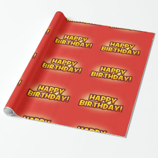 Bright Red Happy Birthday Greeting Gift Wrap
