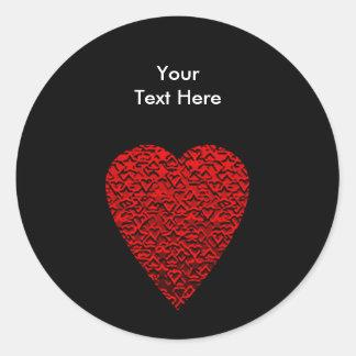 Bright Red Heart Picture. Round Sticker