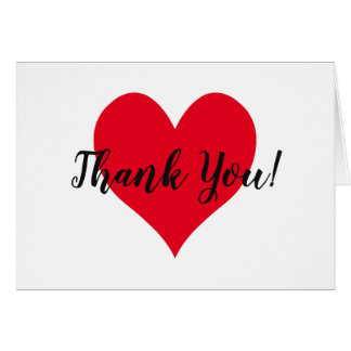 Bright Red Heart Thank You Card